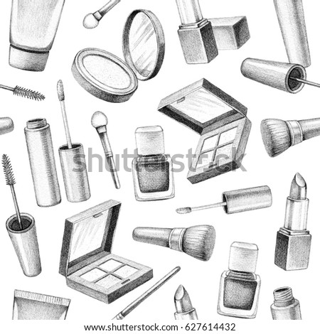 Pencil drawing of make up products hand drawn cosmetics set seamless pattern