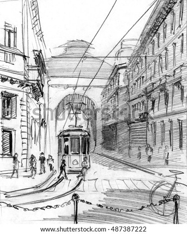 Pencil drawing of o center of Milan, Italy