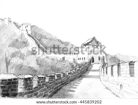 Pencil drawing of the great wall of China in mountains