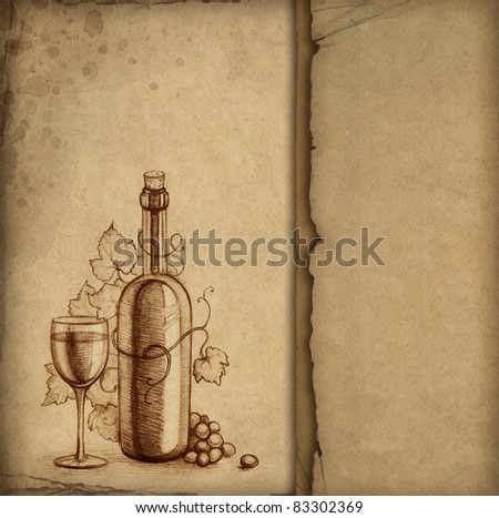 Pencil drawing of wine bottle - stock photo
