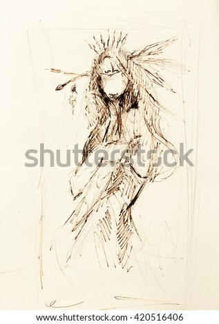 pencil drawing on paper, indian woman  and feathers in hair.  - stock photo