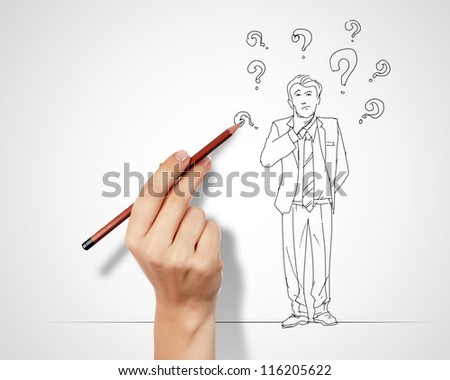 Pencil drawing with quesions and challenges in business - stock photo
