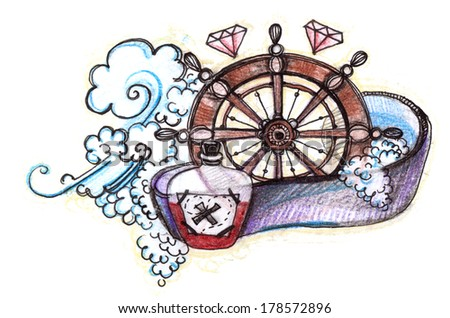 pencil drawing with rum, wheel for the ship, ribbon and clouds