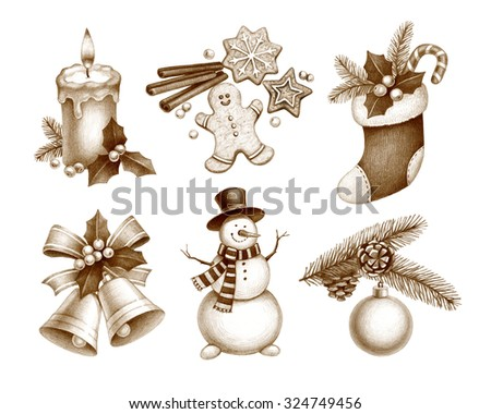 Pencil drawings of Christmas decorations - stock photo