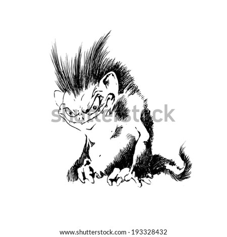 pencil-drawn monsters - stock photo
