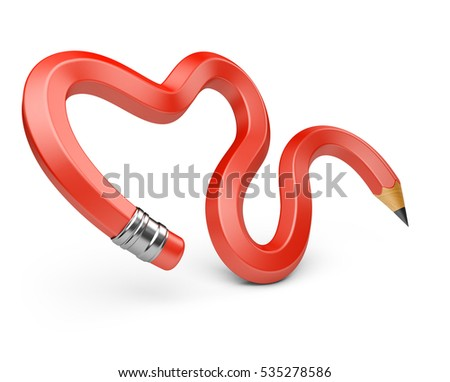 Pencil in a heart shape. 3d illustration isolated on white background.
