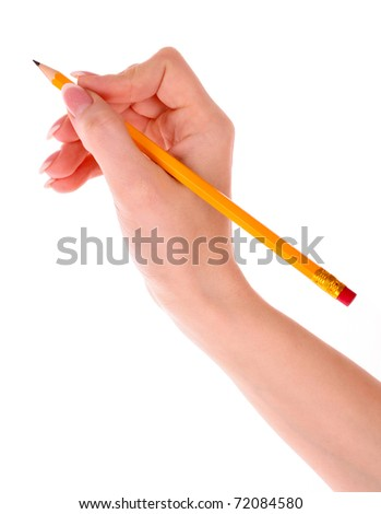Pencil in hand isolated on white - stock photo