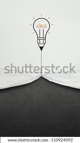 pencil lightbulb draw rope open wrinkled paper show blank black board as concept - stock photo