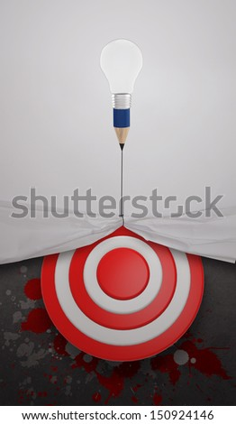 pencil lightbulb draw rope open wrinkled paper show target symbol and splash color as concept - stock photo