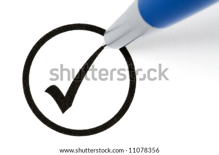 Pencil making a check sign in a circled box. Isolated on white. - stock photo