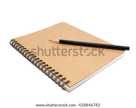 pencil on note book isolated on the white