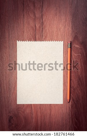 pencil on office wooden table - stock photo