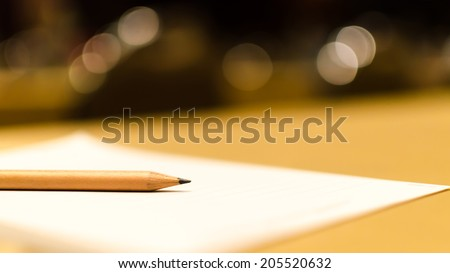 Pencil on paper abstract , Pencil on paper shallow depth , Pencil and bokeh - stock photo