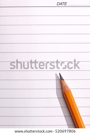 Pencil on piece of lined notebook paper