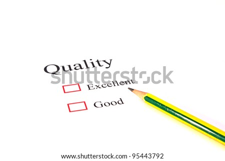 Pencil on quality test closeup - stock photo