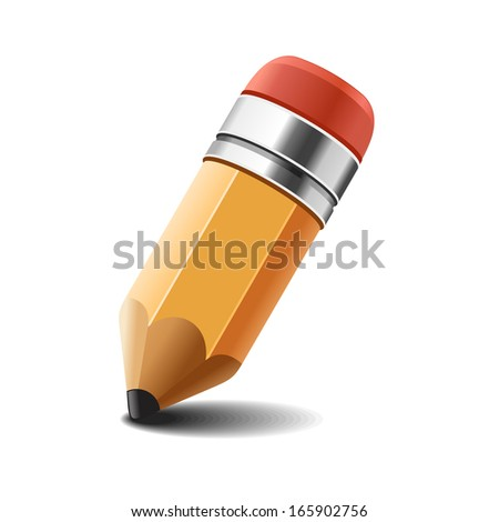 Pencil on white background. . - stock photo