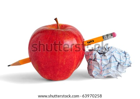 Pencil, paper and an apple representing education or school. - stock photo