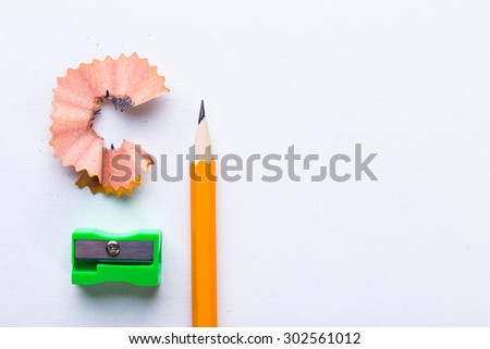 Pencil & pencil shavings - stock photo
