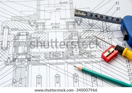 Pencil, ruler and engineering drawings
