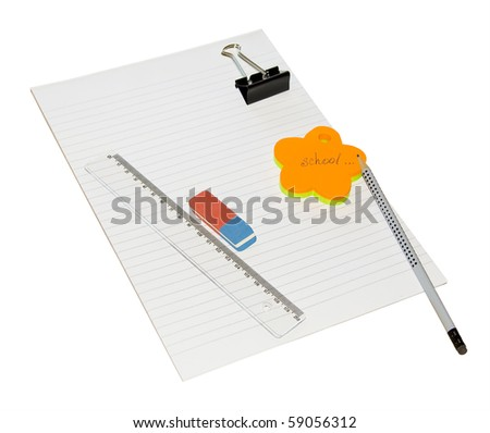 Pencil, ruler, Sticker and eraser, holder on a sheet of white lined paper. Isolated. - stock photo