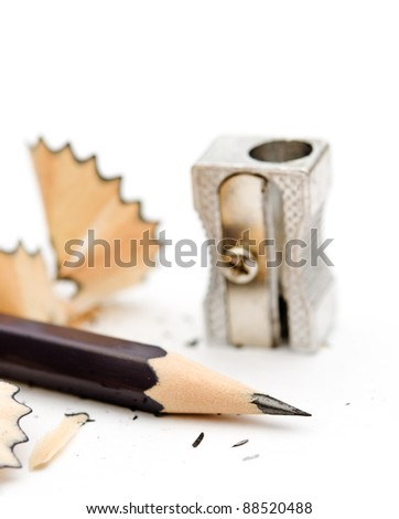 pencil sharpener and a white background with - stock photo
