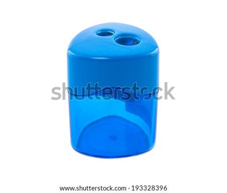 Pencil sharpener on white background - stock photo