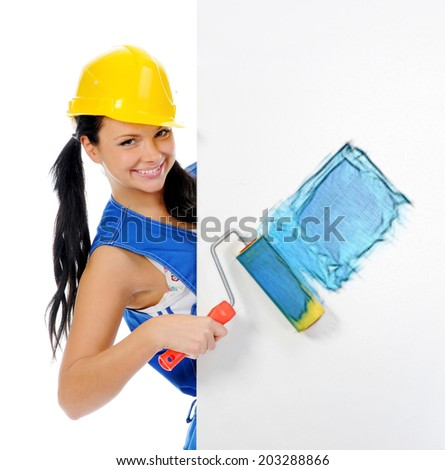 Pencil sketch. Beautiful young woman doing repairs isolated on white background - stock photo