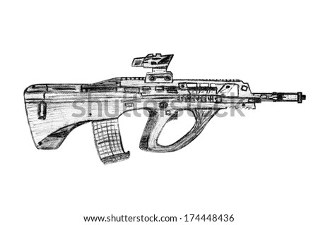 Gun Pencil Drawings Pencil Sketch Machine Gun