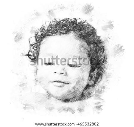Pencil sketch of 9 month old baby on paper