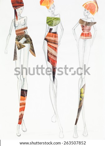 pencil sketch with models wearing clothing made out of fruits and patterns cutout from magazines. fashion collage - stock photo