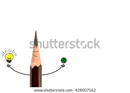 pencil smiling and light bulb on white, The concept have idea is money. - stock photo