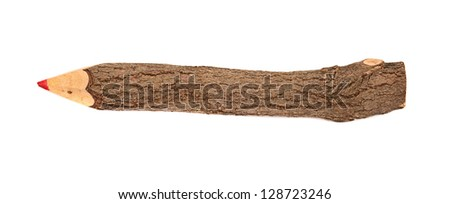 pencil stylized tree branch. isolated on the white - stock photo