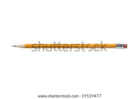 Pencil with even lighting isolated on a white background - stock photo