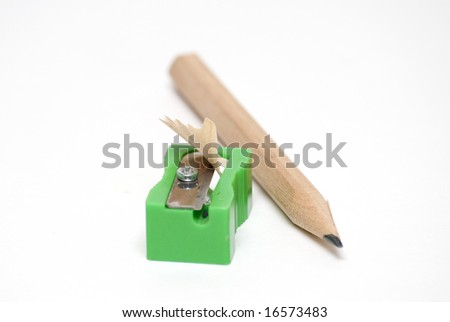 Pencil with Sharpener - stock photo