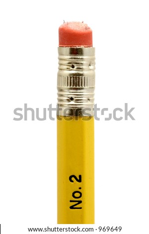 Pencil with slightly used eraser - stock photo