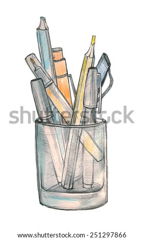 Pencils and pen in a glass. Hand drawn illustration on paper by pencil, ink, watercolor & felt-tip pen over white background - stock photo