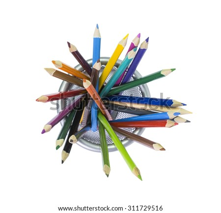 pencils basket isolated, from top side, school background - stock photo