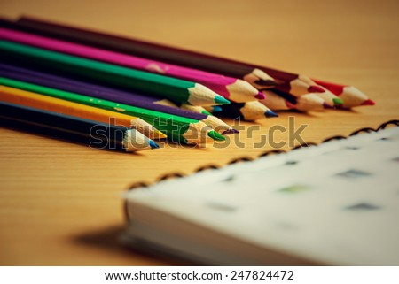pencils colour on wooden table
