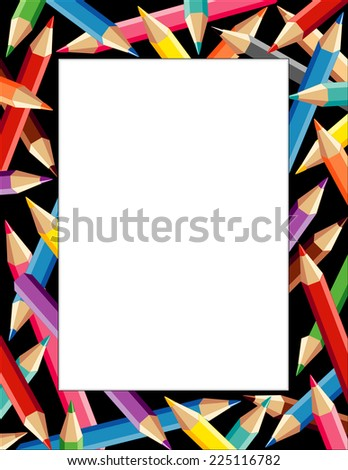 Pencils Frame, colorful vertical border on black background, copy space for announcements, posters, stationery, scrapbooks and fliers for back to school, home and office DIY projects..  - stock photo