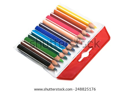 pencils in a box on a white background - stock photo