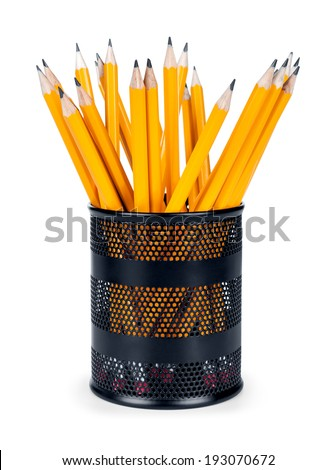 pencils in a glass isolated on white background - stock photo