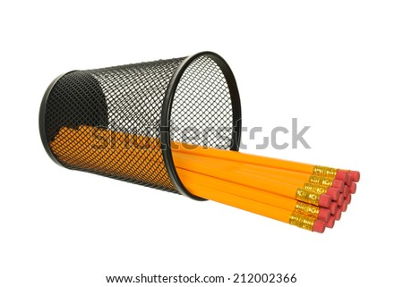 Pencils in black metal container on a white background