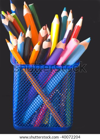 pencils in blue, wire pot