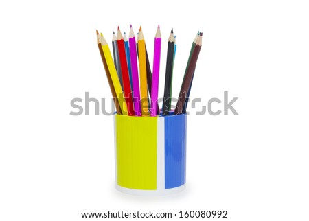 pencils in holder isolated on white background  - stock photo