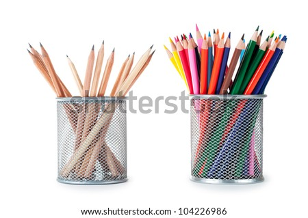 pencils in two containers isolated on white background