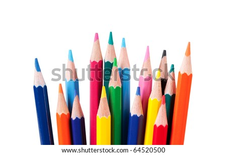 pencils, isolated on the white background. - stock photo