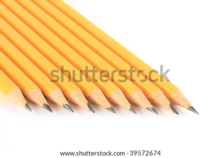 Pencils isolated on white - stock photo