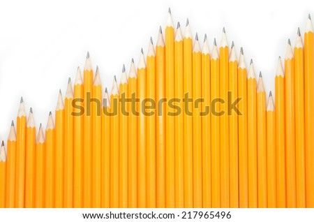 Pencils on a white background, group concept, chart concept - stock photo