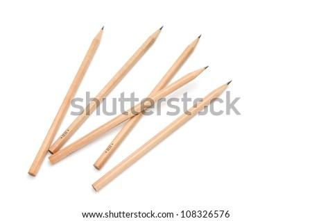 pencils on white - stock photo