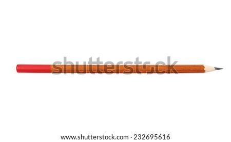 Pencils on white background close up isolated - stock photo